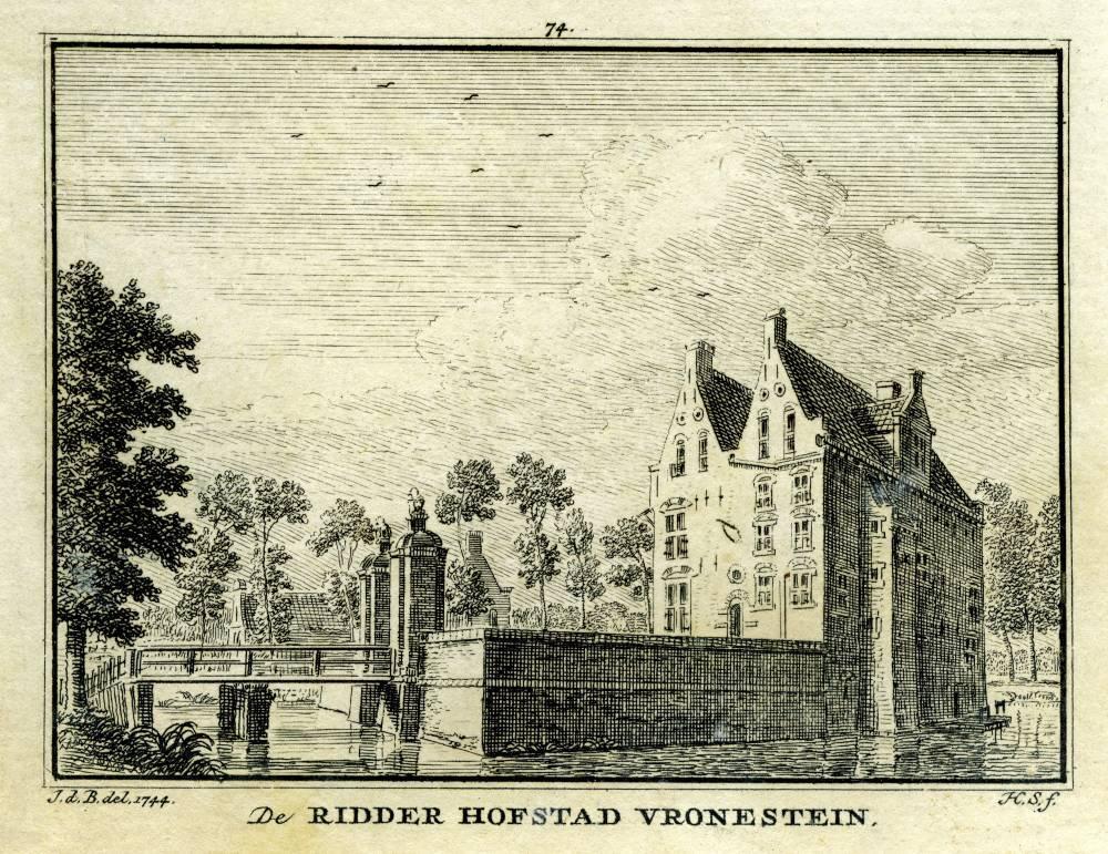 Kasteel Vronestein in Jutphaas. Tekening Jan de Beijer, gravure Hendrik Spilman (Uit: Het Verheerlykt Nederland, Isaac Tirion, 1745/1774)